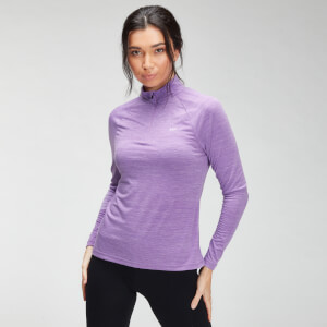 MP Women's Performance Training 1/4 Zip Top - Deep Lilac Marl with White Fleck