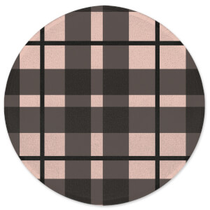 Tartan Black And Pink Round Bath Mat