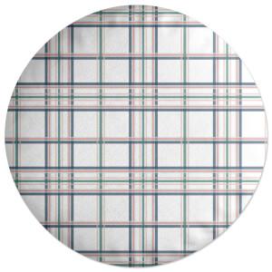 Tartan Thin Stripes Round Cushion