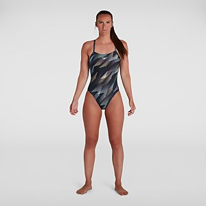 Women's Allover Digital Rippleback Swimsuit Black