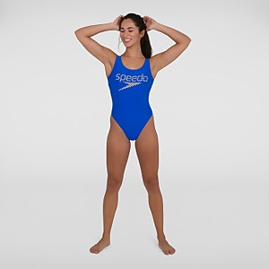 Women's Logo Deep U-Back Swimsuit Blue