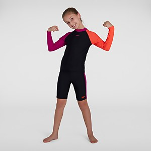 Mädchen Colourblock LS Sun Protection Top & Shorts in Schwarz