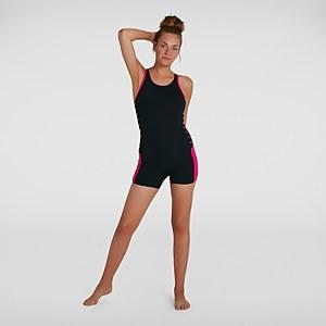 Damen Boom Logo Splice Legsuit in Schwarz