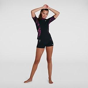 Women's Sports Short Sleeve Rash Top Black