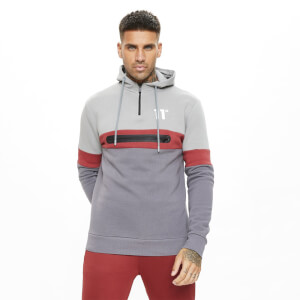 Men's Carbon Panel Quarter Zip Hoodie - Anthracite/Silver/Red
