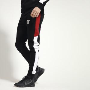 Men's Carbon Panel Joggers Skinny Fit - Black/Brick Red/White