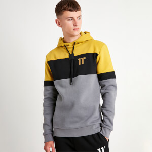 Men's Cut And Sew Pullover Hoodie - Charcoal/Black/Gold