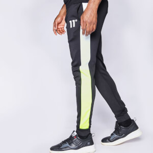 Men's Cut And Sew Colour Block Poly Track Pants - Black/Neon Lime/White