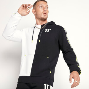 Men's Colour Block Pullover Hoodie - Black/White/Limeaide