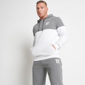 Men's Colour Block Pullover Hoodie - White/Charcoal Marl