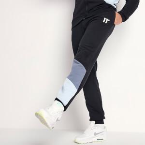 Men's Diagonal Cut And Sew Joggers Skinny Fit - Black/Twister Grey