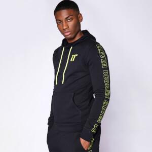 Men's Contrast Print Pullover Hoodie - Black/Limeaide
