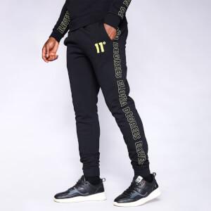 Men's Contrast Print Joggers Regular Fit - Black/Limeaide