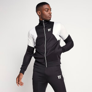Men's Cut And Sew Contrast Track Top - Black/White/Grey Marl