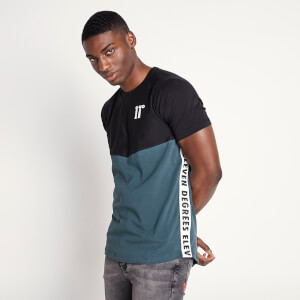 Men's Cut And Sew Contrast Panel Taped T-Shirt - Black/Darkest Spruce Green/Vapour Grey