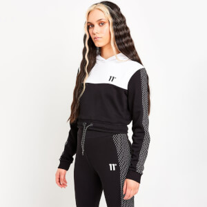 Women's Mesh Cut And Sew Cropped Pullover Hoodie - Black/White