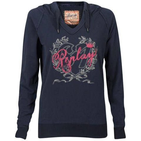 REPLAY Women's Hooded Sweatshirt - Navy