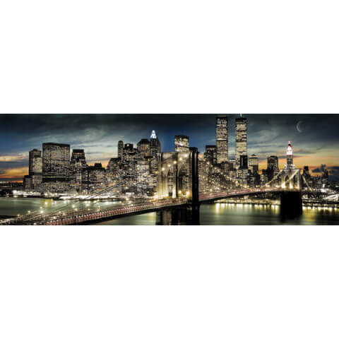 New York Manhattan Night and Moon - Door Poster - 53 x 158cm