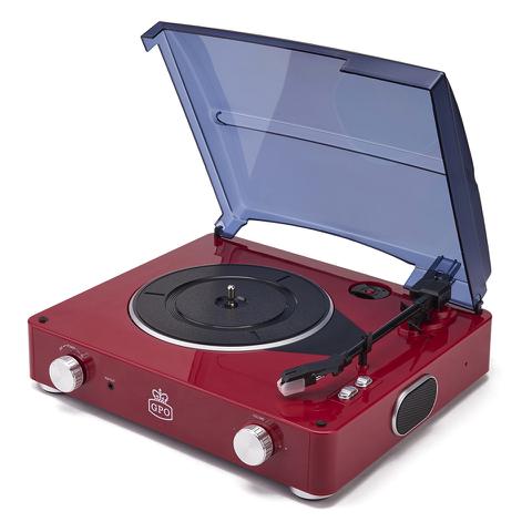 GPO Stylo Plattenspieler (3 Geschwindigkeiten) mit integrierten Lautsprecher - Rot