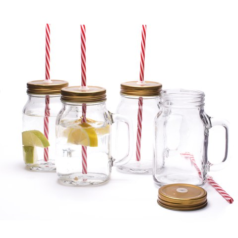 Lot de 4 Bocaux Mason Jar -Bordeaux