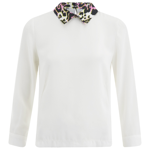 Vero Moda Women's Medine Contrast Collar Top - White