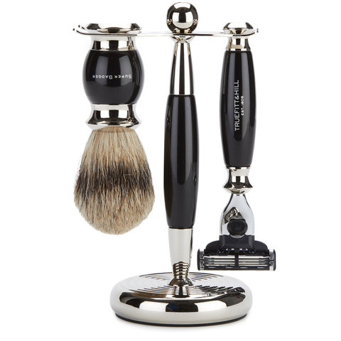 Truefitt & Hill Edwardian Badger MachIII Razor, Brush and Stand Set - Faux Ebony