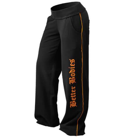 Better Bodies Baggy Soft Pants - Black/orange