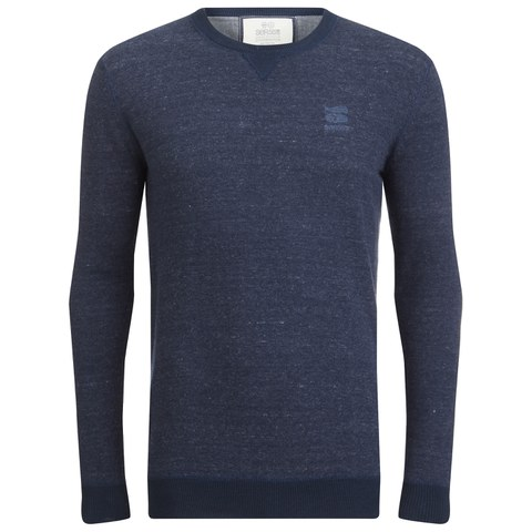 Crosshatch Men's Backsands Crew Neck Kniited Jumper - Dress Blue