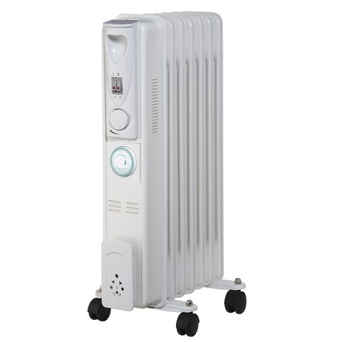 Warmlite WL43003ZT Tall Oil Filled Radiator with Timer - White - 1500W