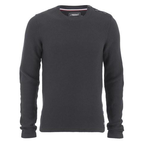 Produkt Men's HNN Buttoned Crew Neck Jumper - Dark Grey Melange