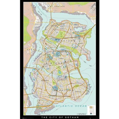 DC Comics Batman Begins Gotham Map - 24 x 36 Inches Maxi Poster