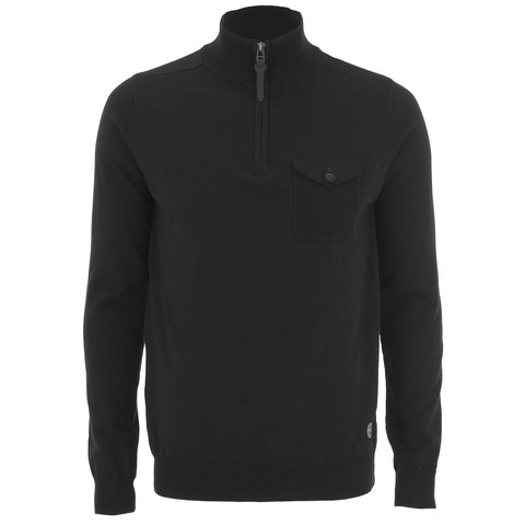 Threadbare Men's Lucca 1/4 Zip Funnel Neck Pocket Jumper - Black