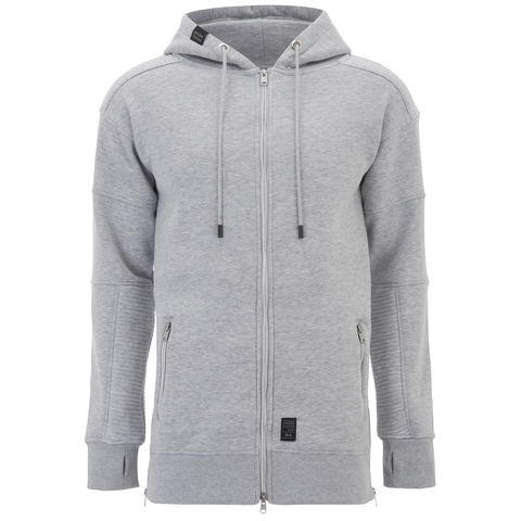 Crosshatch Men's Hideouts Longline Hoody - Grey Marl