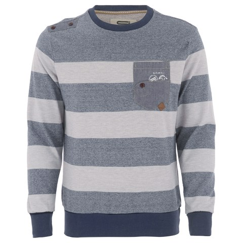 Smith & Jones Mens Casek Striped Sweatshirt - Navy