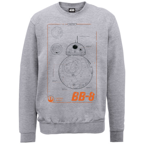 Star Wars The Force Awakens Technical BB-8 Zavvi Exclusive Sweatshirt - Heather Grey