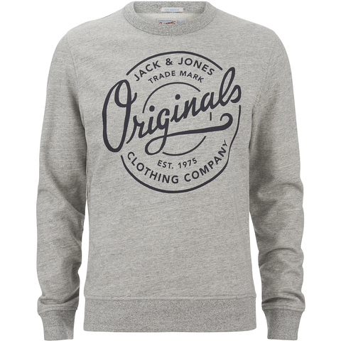 Jack & Jones Men's Originals Tones Sweatshirt - Light Grey Melange