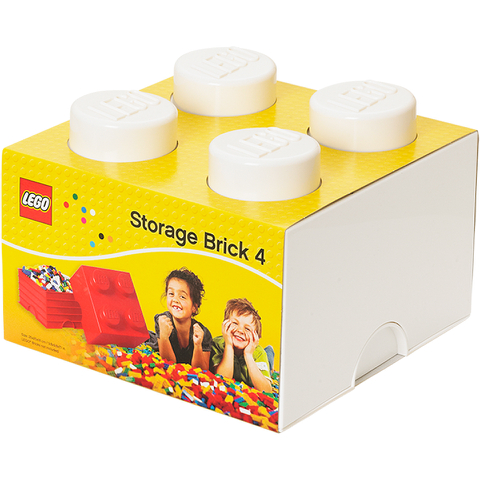 brique de rangement lego blanche 4 tenons my geek box. Black Bedroom Furniture Sets. Home Design Ideas