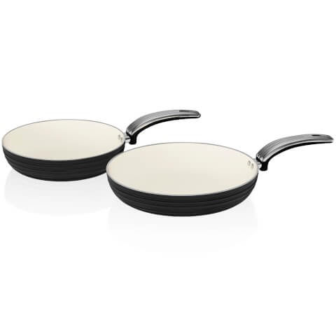 Swan SWPS2010BN 2 Piece Retro Frying Pan Set - Black - 20/28cm