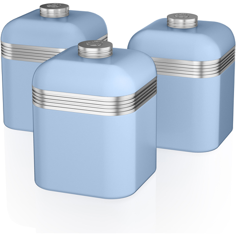 Swan SWKA1020BLN Retro Set of 3 Canisters - Blue