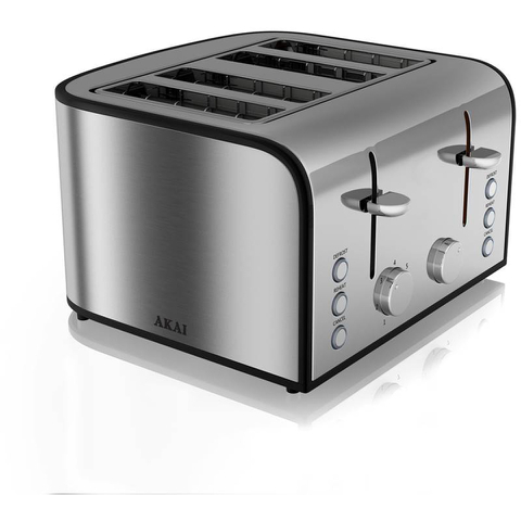 Akai A20002 4 Slice Toaster - Stainless Steel
