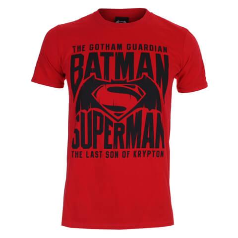 DC Comics Batman v Superman Gotham Guardian Herren T-Shirt - Rot