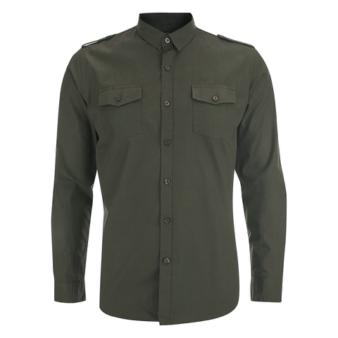 Brave Soul Men's Charlie Pocket Long Sleeve Shirt - Khaki