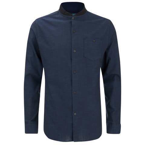 Brave Soul Men's Oakley Collarless Long Sleeve Shirt - Ink/Navy