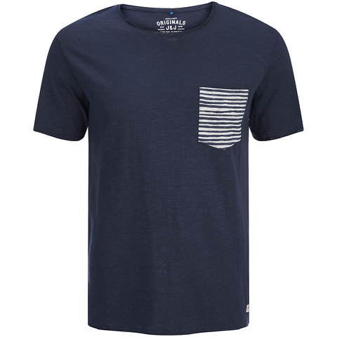 Jack & Jones Herren Originals Raw Stripe Pocket T-Shirt - Dark Blau Denim