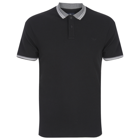 Threadbare Men's Warsaw Tipped Polo Shirt - Black