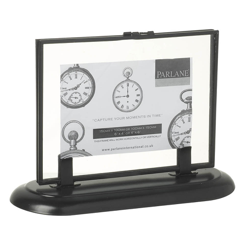 Parlane Glass Photo Frame with Stand - Black (250 x 180mm)
