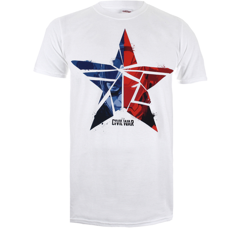 Marvel Herren Captain America Civil War zerbrochenen Stern T-Shirt - Weiss