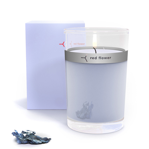 Red Flower Icelandic Moonflower Petal Top Candle