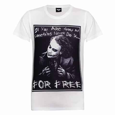 DC Comics Herren Batman The Joker Never for Free T-Shirt - Weiß