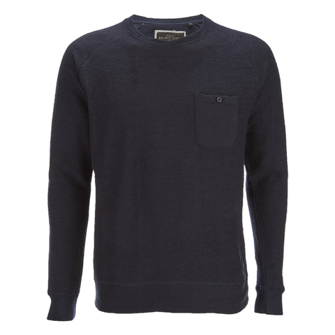 Brave Soul Men's Adler Textured Pocket Jumper - Dark Navy